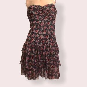 Express Black Floral Strapless Tiered Dress size S